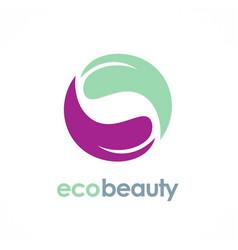 circle eco beauty logo vector image vector image