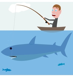 Fisher and shark vector