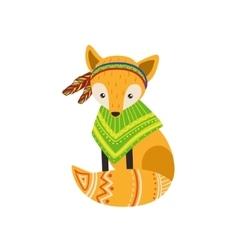 Fox wearing tribal poncho vector