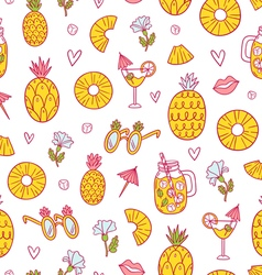 Pineapple mood pattern on white background vector image vector image
