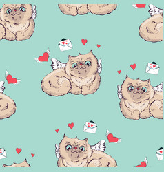 seamless pattern background angel cat vector image
