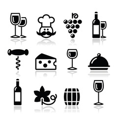 Wine icons set - glass bottle restaurant food vector image vector image