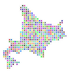 Abstract hokkaido island map vector