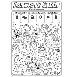 Activity sheet counting game 8 vector