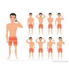 Asian man set of poses and emotions vector