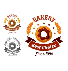 Bakery emblem with cookie vector image