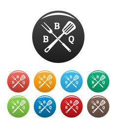bbq icons set color vector image