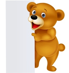 Bear with blank sign vector
