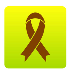 black awareness ribbon sign brown icon at vector image