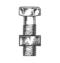 bolt with screwed nut engraving vector image