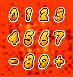 Bright colorful comics numbers with halftone vector