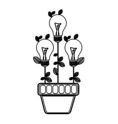 Bulb plants inside of plantpot eco vector