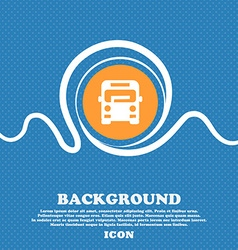 Bus icon sign Blue and white abstract background vector image