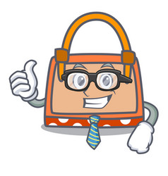 businessman hand bag character cartoon vector image