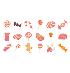 Candy icon set cartoon style vector