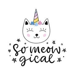 capricorn cute cat unicorn cartoon character vector image
