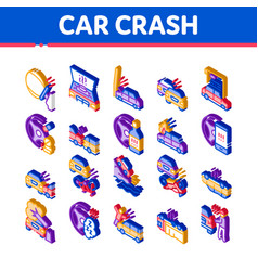 Car crash accident isometric icons set vector