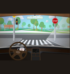 Car interior with empty road driver point view vector