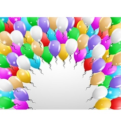 Card with many balloons vector