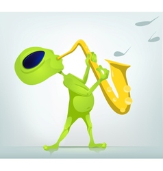 Cartoon alien Saxophone vector image