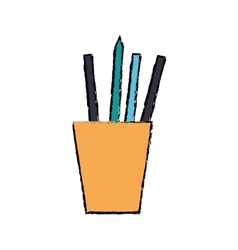 cartoon cup pencils pens elements working vector image