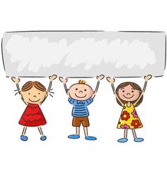 Cartoon little kids holding banner vector image