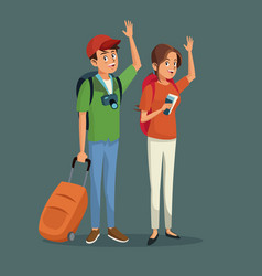 Cartoon traveler couple happy with backpacks vector