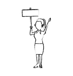 Cartoon woman holding placard election voting vector