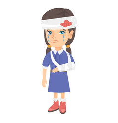 Caucasian girl with broken arm and bandaged head vector