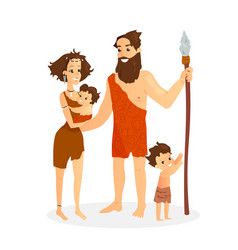 Cavemen family stone age vector