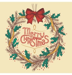 Christmas wreath line drawing vector