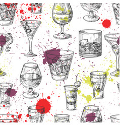 cocktail party seamless pattern with hand vector image