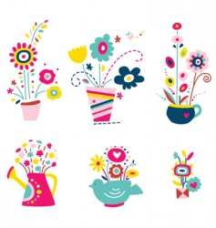 collection of flowers in pots vector image