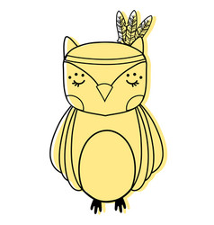 Color cute owl animal with feathers design vector