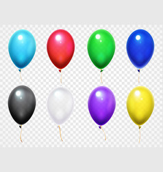 colorful 3d glossy balloons birthday party vector image