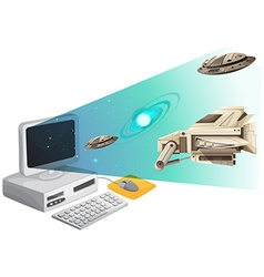 Computer screen with spaceships in the space vector image