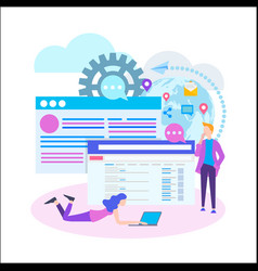 conceptual web seo teamwork project web agency vector image
