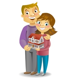 Couple with own house vector image