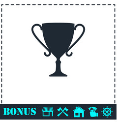 cup trophy icon flat vector image