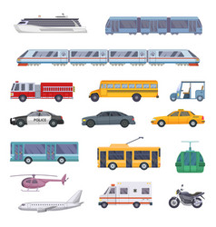 Different municipal transportation set vector