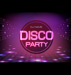 disco abstract background neon sign disco party vector image
