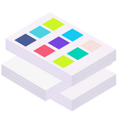 Documents with color samples stacked pile of vector