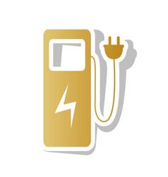 Electric car charging station sign golden vector
