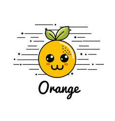 Emblem kawaii happy orange icon vector