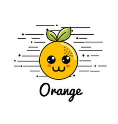 Emblem kawaii happy orange icon vector