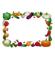 farm vegetables isolated frame raw veggies vector image