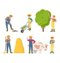 Farmer farming people set vector