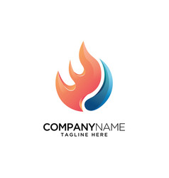 fire with water logo design template vector image