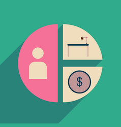 Flat web icon with long shadow time money chart vector