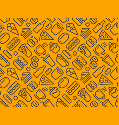 Food and drinks seamless background pattern vector